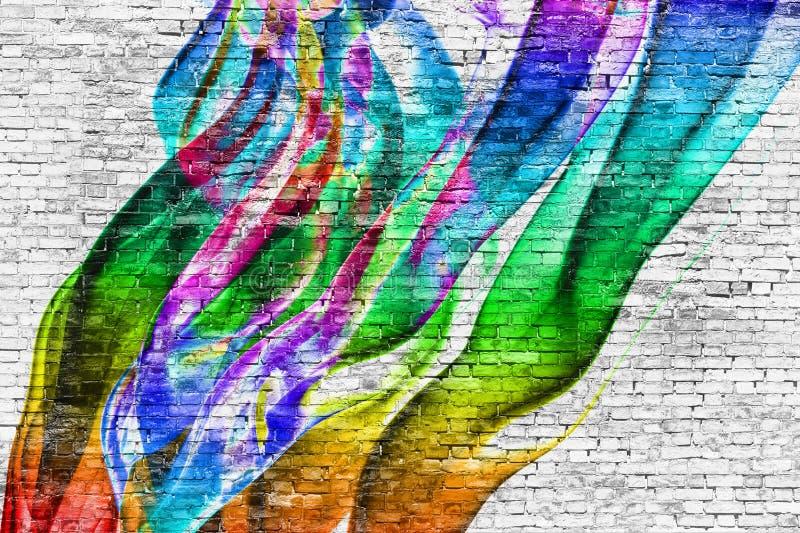 Abstrakcjonistyczny kolorowy obraz nad ściana z cegieł ilustracja wektor