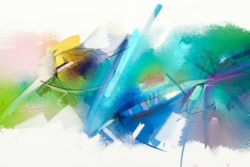 Abstrakcjonistyczny kolorowy obraz olejny na brezentowej teksturze royalty ilustracja