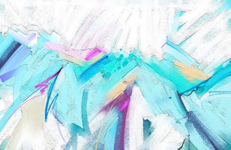 Abstrakcjonistyczny kolorowy obraz olejny na brezentowej teksturze Abstrakcjonistyczna dzisiejsza ustawa dla tła royalty ilustracja