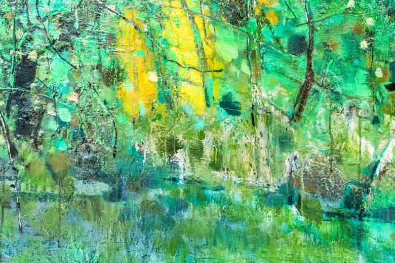 Abstrakcjonistyczny kolorowy obraz olejny na kanwie ilustracji