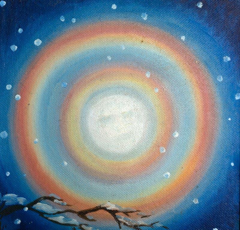 Abstrakcjonistyczny kolorowy obraz olejny na kanwie - Rosja Berezniki 22 Marzec 2018 obrazy royalty free