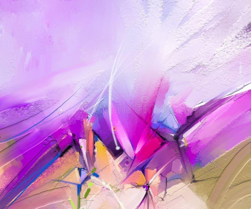 Abstrakcjonistyczny kolorowy obraz olejny na kanwie Sztuka współczesna obrazy olejni z purpurami, czerwony kolor royalty ilustracja