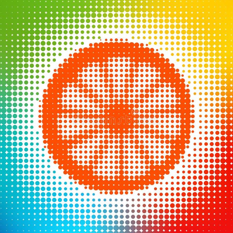 Abstrakcjonistyczny kolorowy okręgu tło z pomarańcze ilustracja wektor