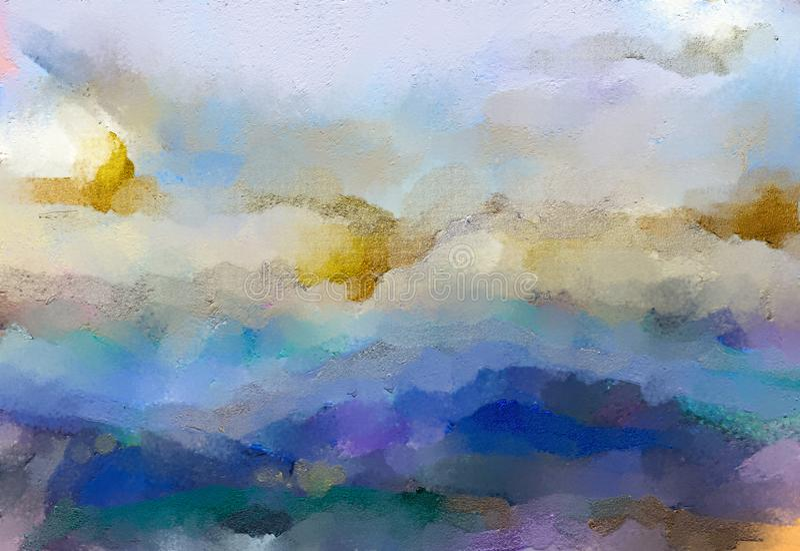Abstrakcjonistyczny kolorowy olej, akrylowa farba na brezentowej teksturze Ręka rysujący szczotkarski uderzenie, nafcianego kolor ilustracji
