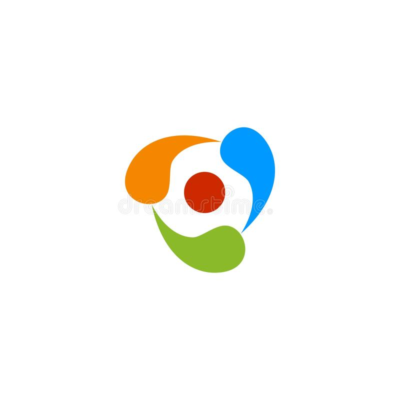 Abstrakcjonistyczny kolorowy potrójny logo ilustracji