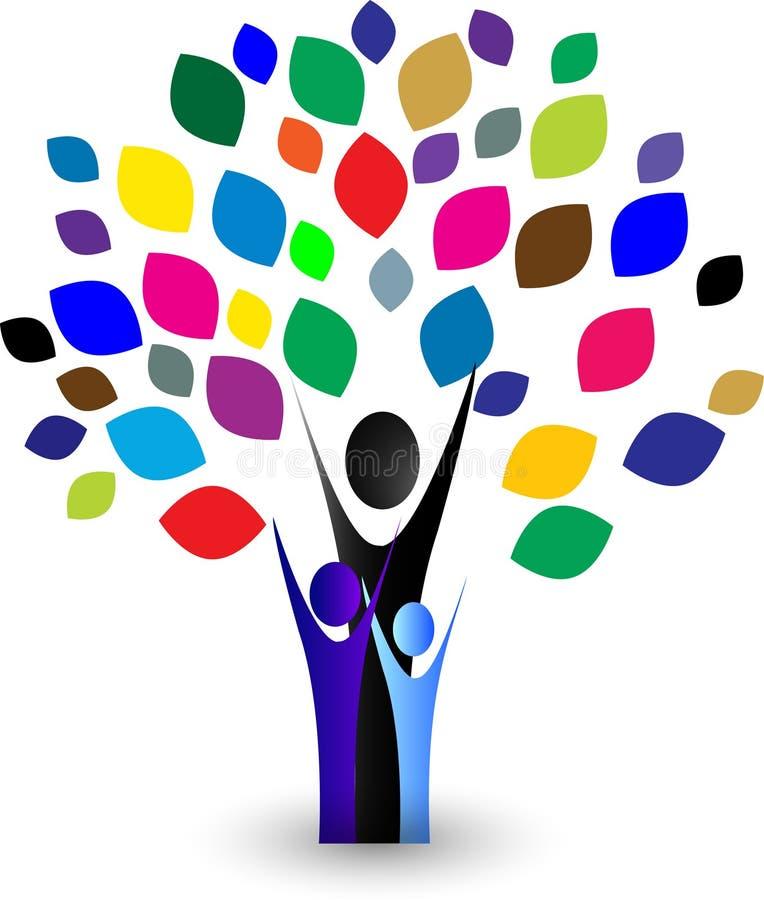 Abstrakcjonistyczny kolorowy Rodzinny drzewo ilustracja wektor