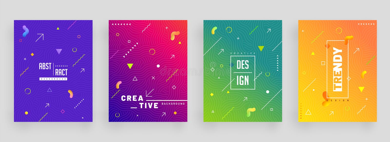 Abstrakcjonistyczny kolorowy set okładkowy projekta szablon, ulotka lub ilustracja wektor