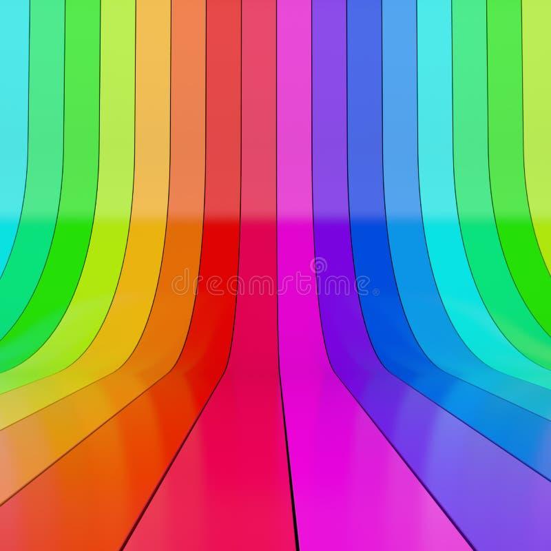 Abstrakcjonistyczny kolorowy staczający się w górę plastikowych lampasów ilustracji