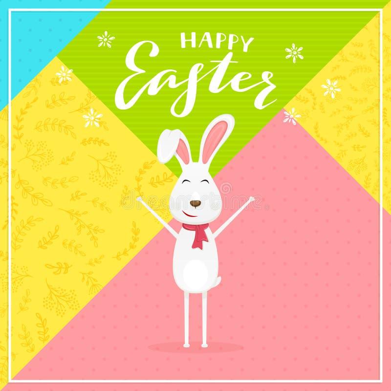Abstrakcjonistyczny kolorowy tło z królika i teksta Szczęśliwą wielkanocą ilustracji
