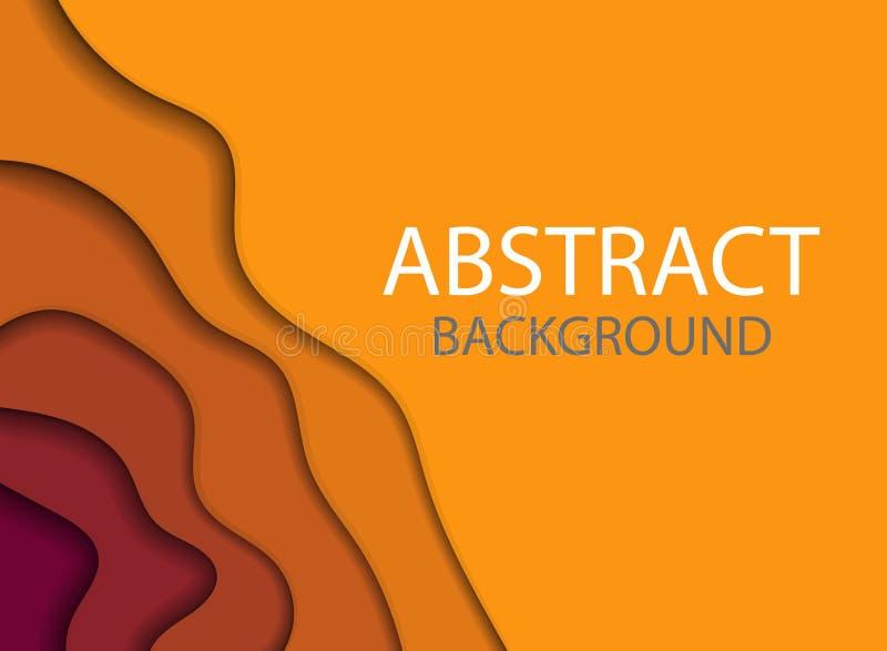 abstrakcjonistyczny kolorowy ulotka szablon Nowożytny sztandar z 3D tła i papieru abstrakcjonistycznymi rżniętymi falowymi kształ ilustracji