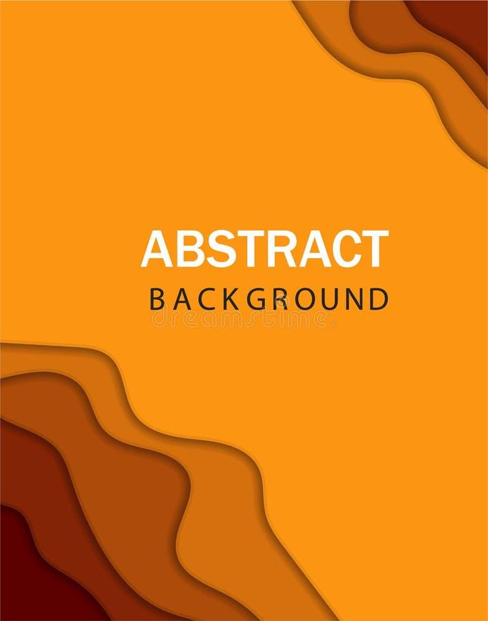 abstrakcjonistyczny kolorowy ulotka szablon Nowożytny sztandar z 3D tła i papieru abstrakcjonistycznymi rżniętymi falowymi kształ ilustracja wektor