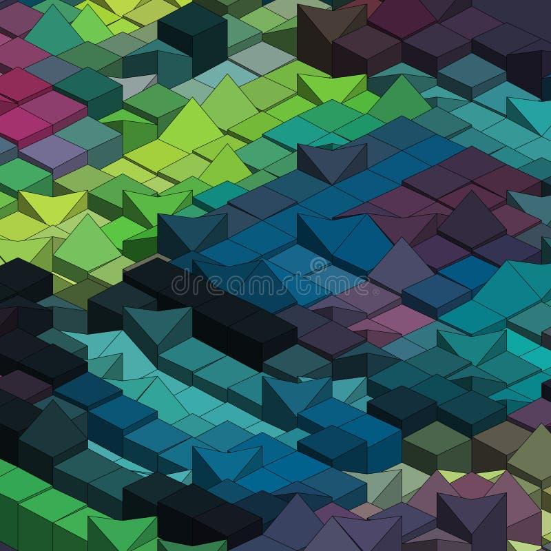 Abstrakcjonistyczny kolorowy wektorowy sześcian - tło ilustracji