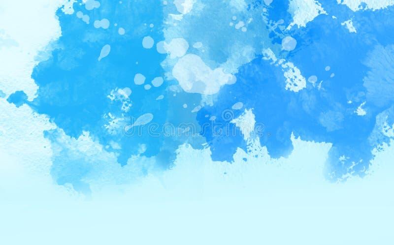 Abstrakcjonistyczny kolorowy wodny kolor, Błękitny tło royalty ilustracja
