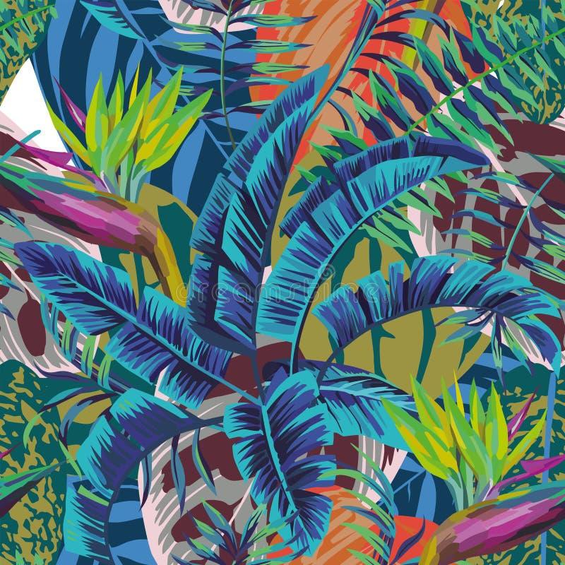Abstrakcjonistyczny koloru ptak baradise banan opuszcza begoni tło ilustracja wektor