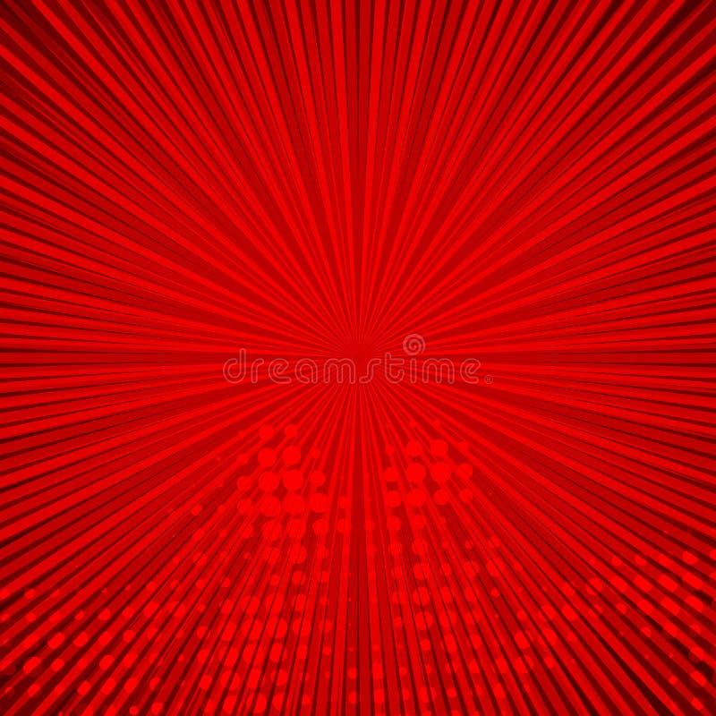 Abstrakcjonistyczny komiczny czerwony tło dla stylowego wystrzał sztuki projekta Retro wybuchu szablonu tło Lekkich promieni skut ilustracji