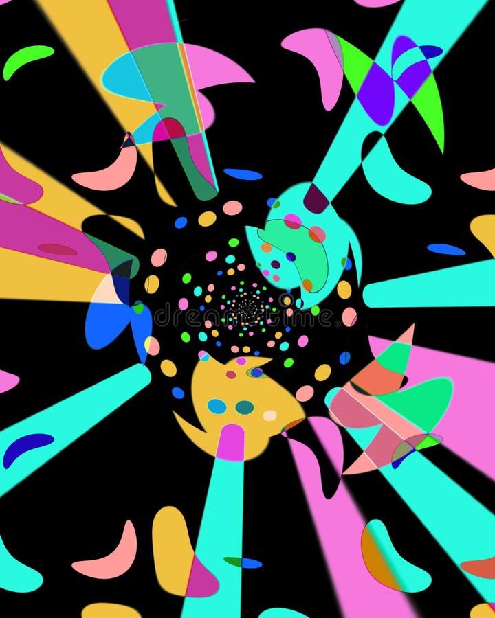Abstrakcjonistyczny komputer wytwarzał wizerunek z multicoloured kształtami na czarnym tle ilustracja wektor