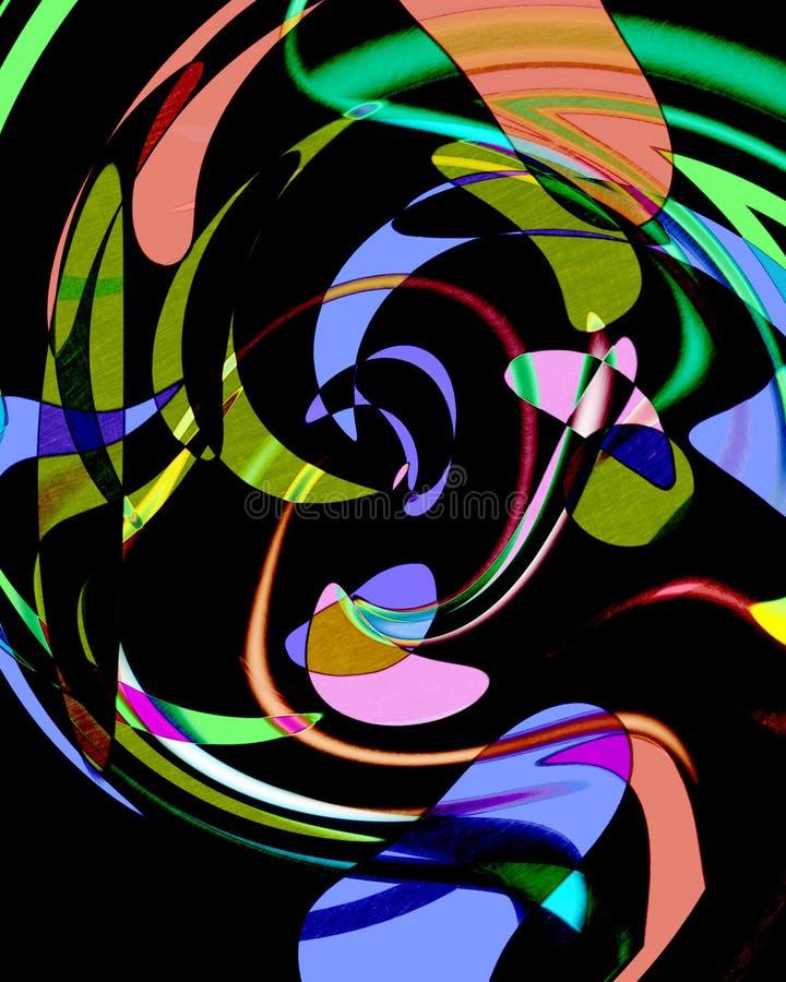 Abstrakcjonistyczny komputer wytwarzał wizerunek z multicoloured kształtami na czarnym tle royalty ilustracja