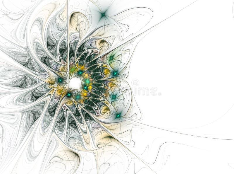 Abstrakcjonistyczny komputer wytwarzający fractal kwiatu wizerunek Zielony żółty kwiat na białym tle ilustracja wektor