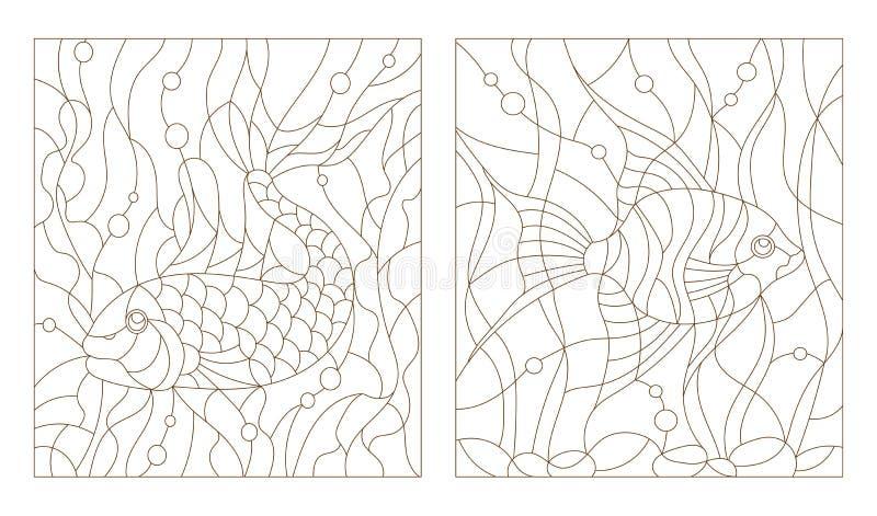 Abstrakcjonistyczny konturu set ilustracje, akwarium ryba w witrażu stylu ilustracji
