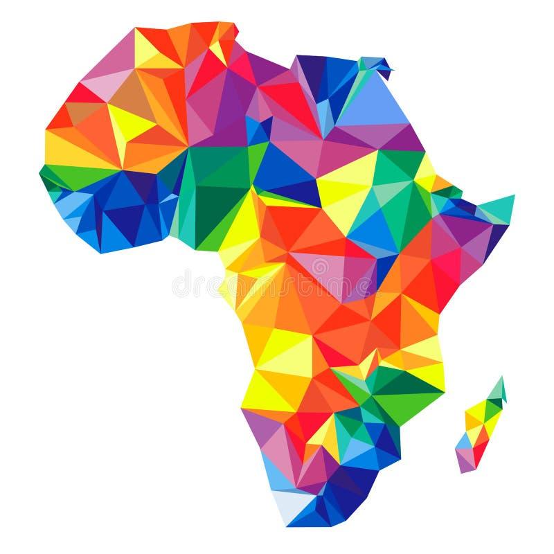 Abstrakcjonistyczny kontynent Afryka od trójboków Origami styl ilustracja wektor