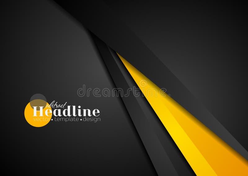 Abstrakcjonistyczny korporacyjny pomarańczowy czarny techniki tło ilustracja wektor