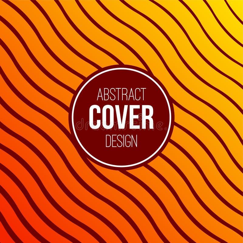 Abstrakcjonistyczny kreatywnie pojęcie układu szablon Nowożytna abstrakt pokrywa od jaskrawej pomarańcze, żółte faliste linie, la royalty ilustracja