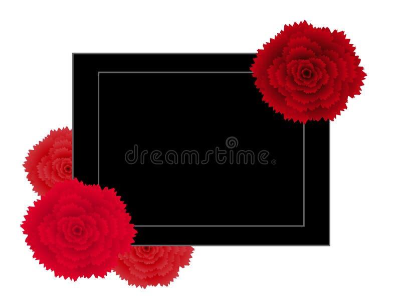 Abstrakcjonistyczny kreatywnie sztandar z kwiat czerwieni goździkiem ilustracja wektor