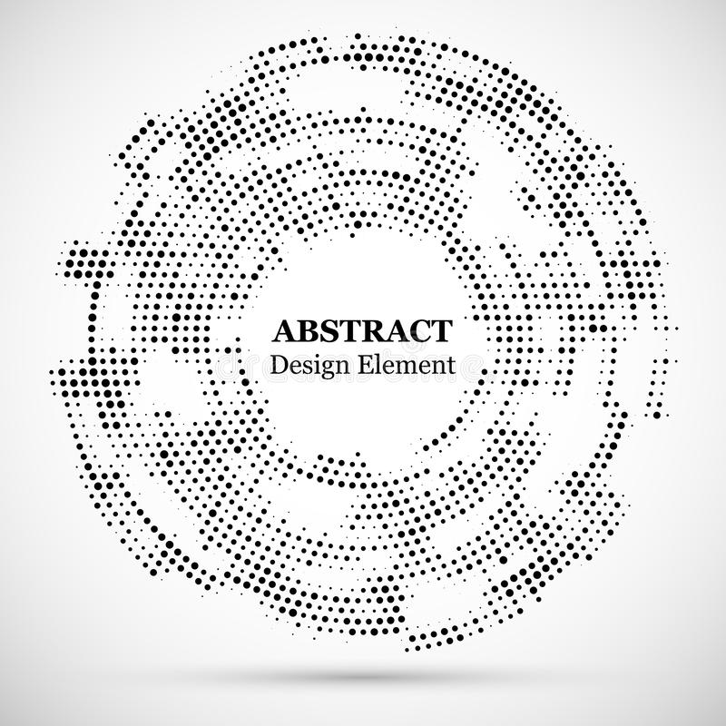 Abstrakcjonistyczny kropkowany halftone nowożytny deseniowy tło Czarnego dekoracyjnego projekta round okręgu halftone elementy od royalty ilustracja