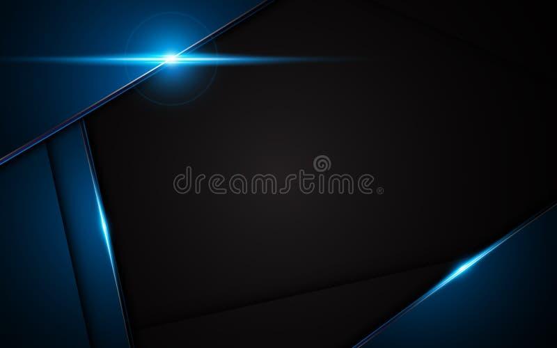 Abstrakcjonistyczny kruszcowy błękitnego czerni ramy projekta innowaci pojęcia układu tło royalty ilustracja