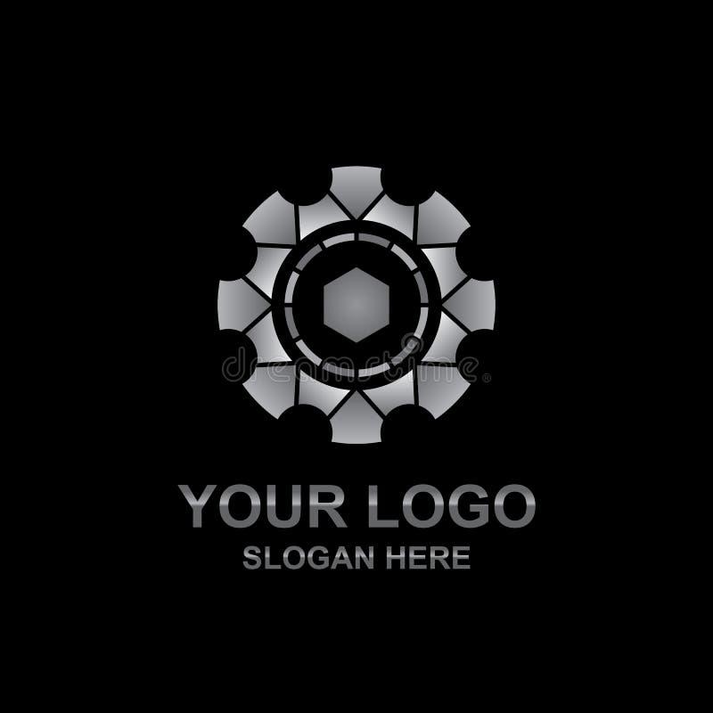 Abstrakcjonistyczny Kruszcowy przekładni technologii loga projekta wektor obrazy stock