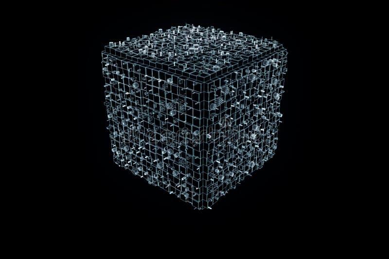 Abstrakcjonistyczny kształta element w Wireframe holograma stylu Ładny 3D rendering royalty ilustracja