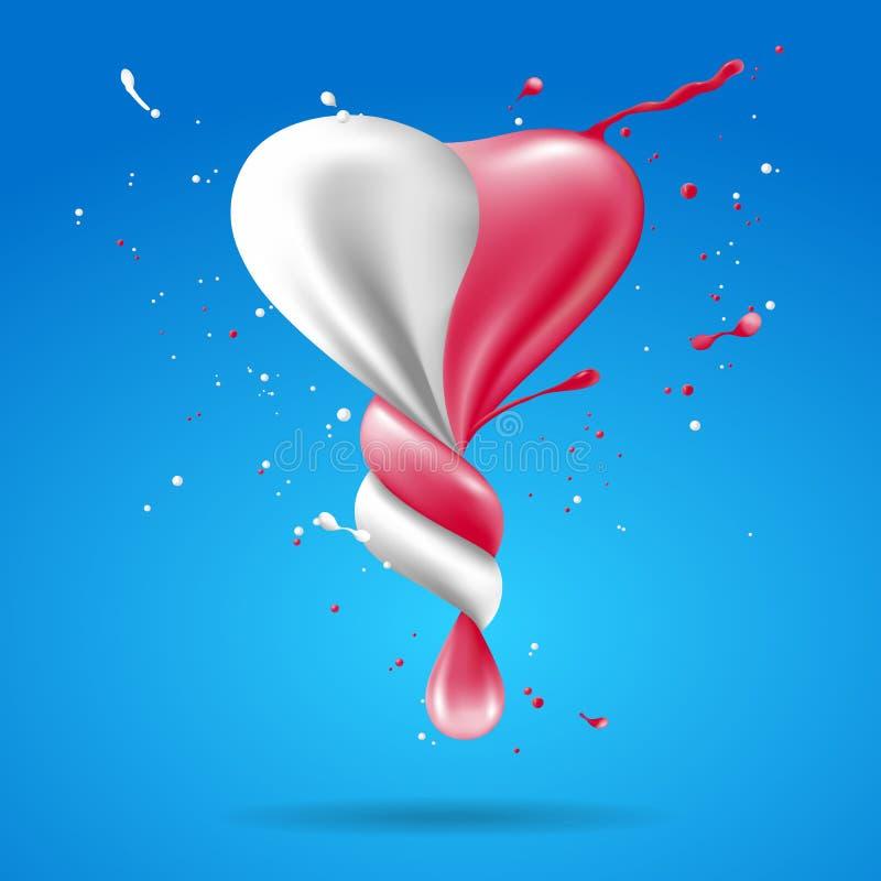 Abstrakcjonistyczny kształta serce z mlekiem i truskawkowym skrętem ilustracja wektor