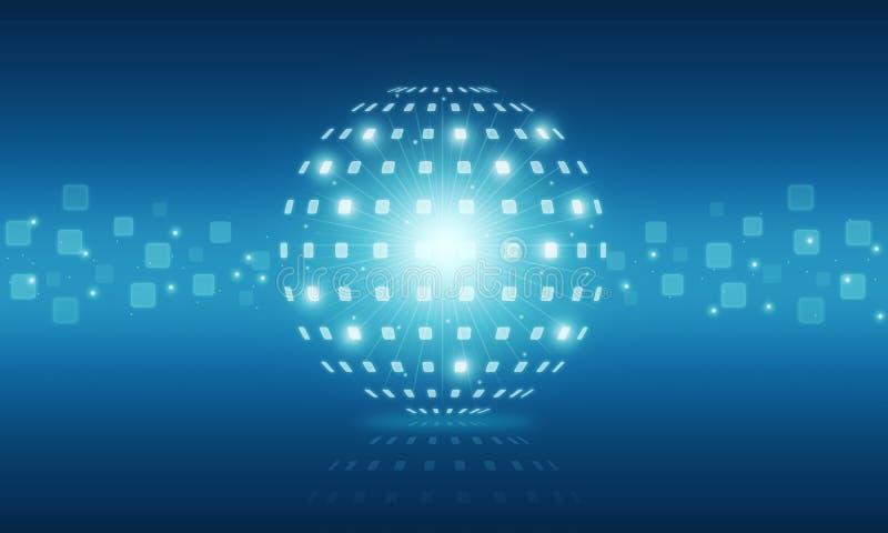 Abstrakcjonistyczny kuli ziemskiej technologii cyfrowej interneta tło ilustracji