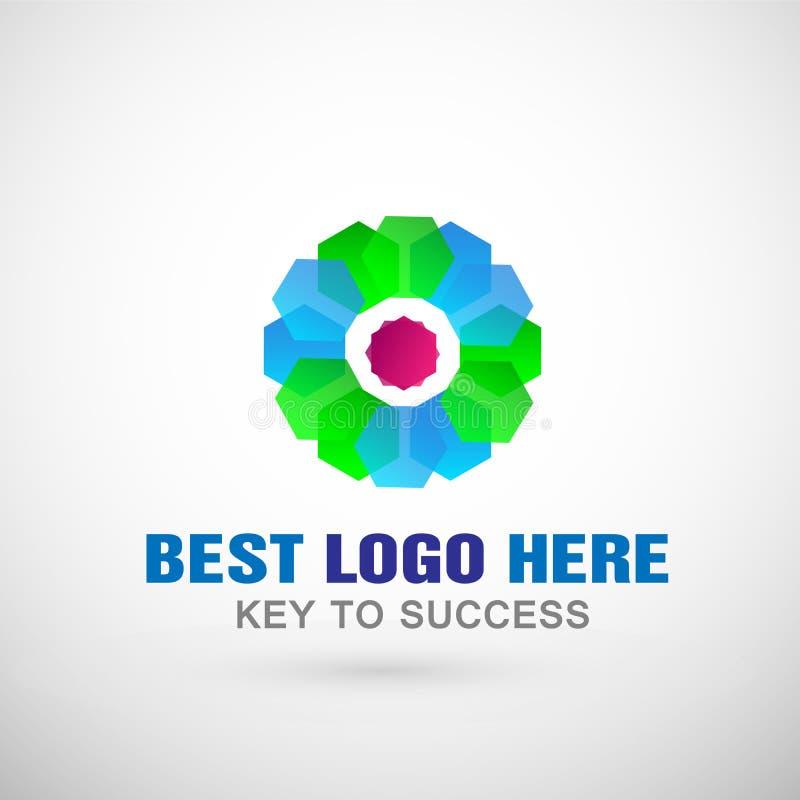 Abstrakcjonistyczny kwiat kształtujący biznesowy logo, zjednoczenie na Korporacyjnym Inwestuje Biznesowego loga projekt Pieniężna royalty ilustracja