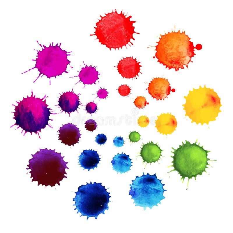 Abstrakcjonistyczny kwiat robić akwareli krople Kolorowi Abstrakcjonistyczni wektorowi atrament farby splats Koloru koło royalty ilustracja