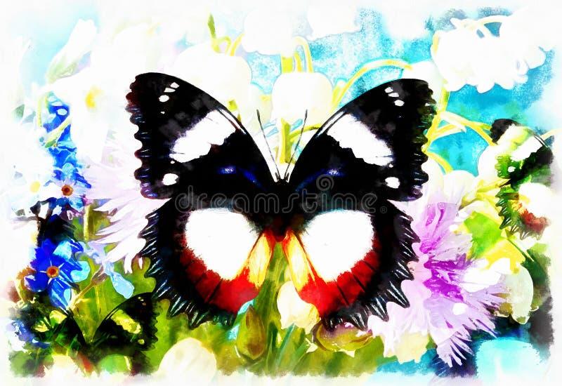 Abstrakcjonistyczny kwiat z motylem, komputerowy kolażu obraz ilustracji