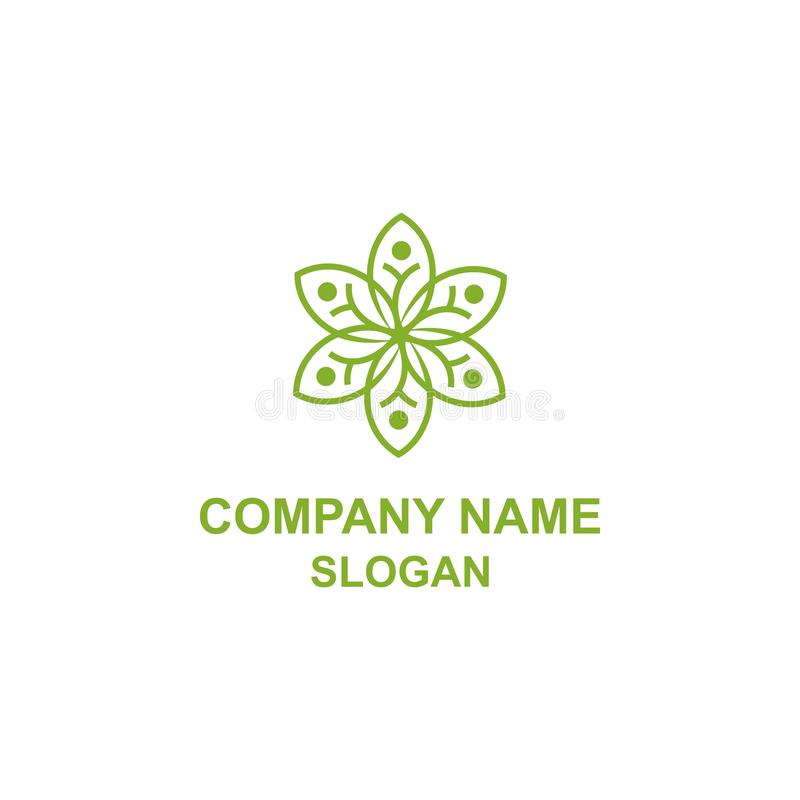 Abstrakcjonistyczny kwiatu liścia ludzkości socjalny logo ilustracja wektor