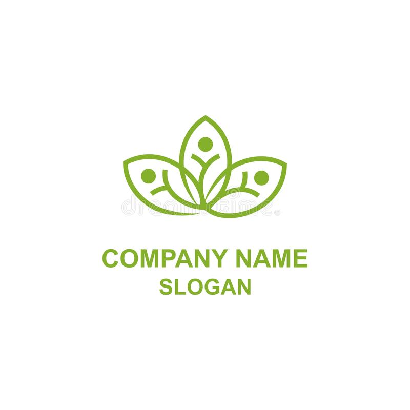 Abstrakcjonistyczny kwiatu liścia ludzkości socjalny logo royalty ilustracja
