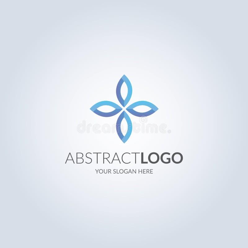 Abstrakcjonistyczny kwiatu symbolu logo w błękitnego koloru gradientowym kolorze projekta pożarniczy notatnika szablonu pisać twó ilustracji