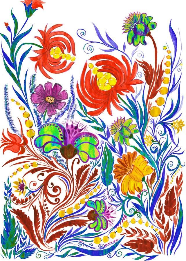 Abstrakcjonistyczny kwiatu tło, akwarela rysunek na papierze obraz stock