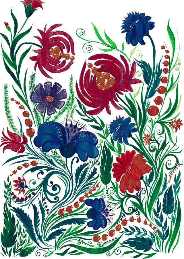 Abstrakcjonistyczny kwiatu tło, akwarela rysunek na papierze fotografia stock