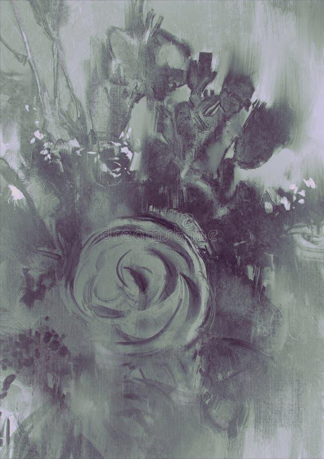 Abstrakcjonistyczny kwiatu tło z szarości brzmieniem ilustracja wektor