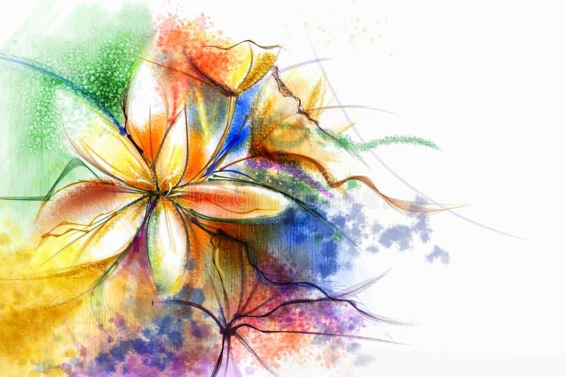Abstrakcjonistyczny kwiecisty akwarela obraz Abstrakcjonistyczni kolorowi watercolour obrazy dla tła ilustracja wektor