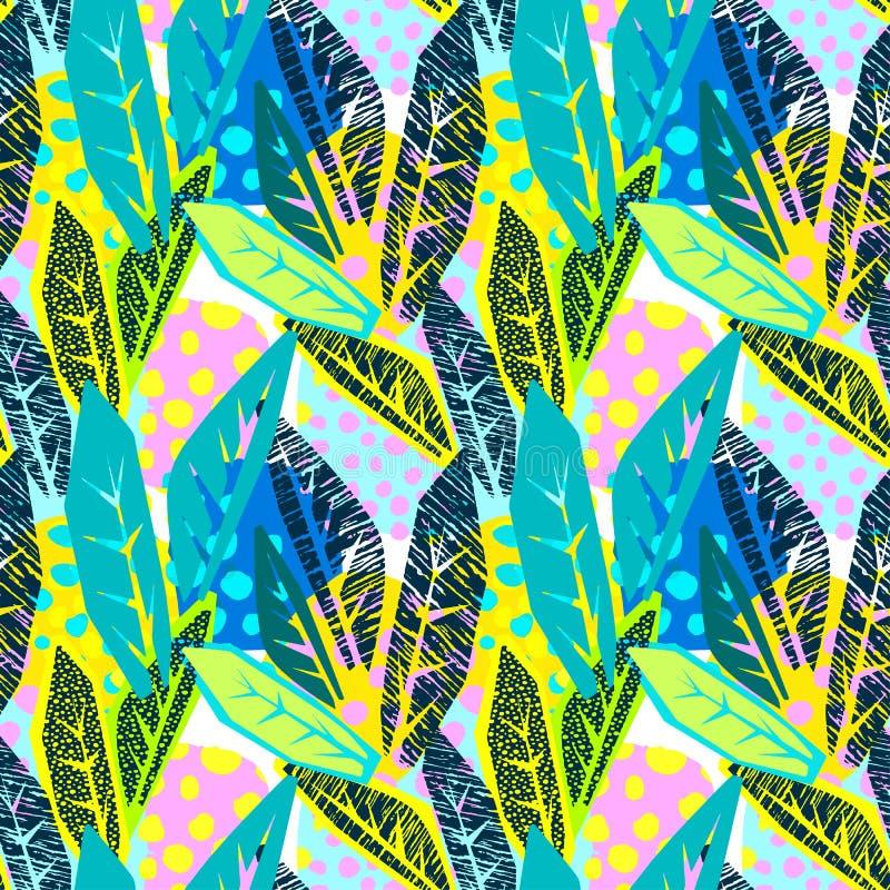 Abstrakcjonistyczny kwiecisty bezszwowy szorstki grunge wzór, nowożytnego projekta tem ilustracji