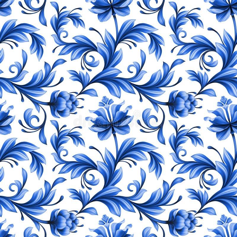 Abstrakcjonistyczny kwiecisty bezszwowy tło, wzór z ludowymi kwiatami ilustracja wektor
