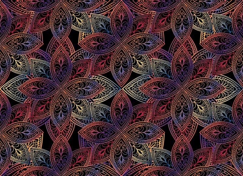 Abstrakcjonistyczny kwiecisty bezszwowy wzór Geometryczna ornament tekstura ilustracji
