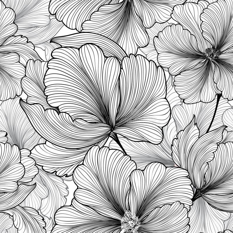Abstrakcjonistyczny kwiecisty bezszwowy wzór Geometryczny lampas linii kwiat royalty ilustracja