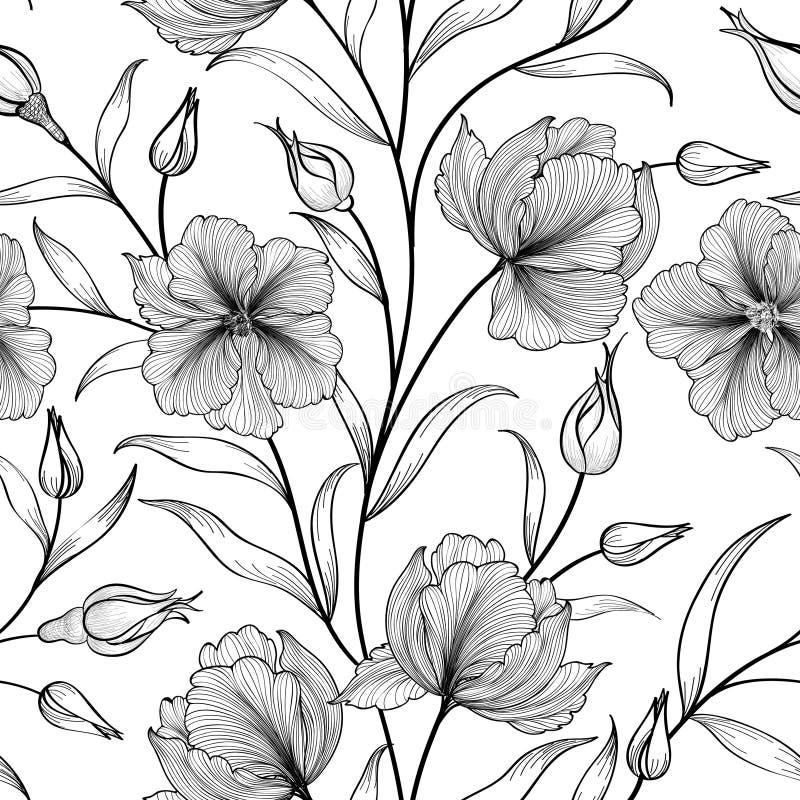 Abstrakcjonistyczny kwiecisty bezszwowy wzór Geometryczny lampas linii kwiat t ilustracji