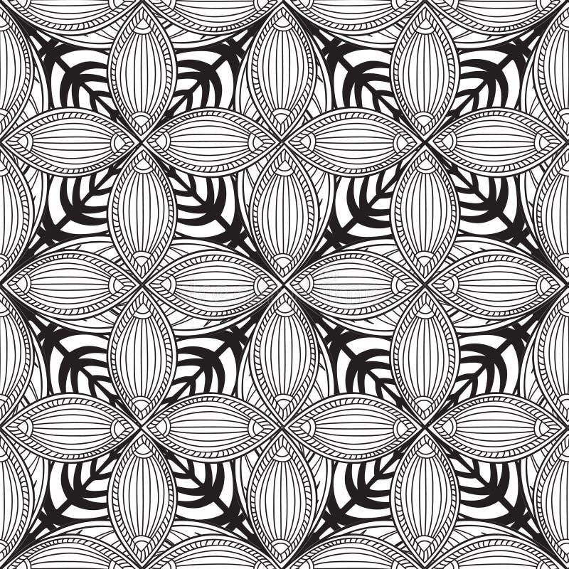 Abstrakcjonistyczny kwiecisty bezszwowy wzór Kafelkowy geometryczny tło ilustracja wektor