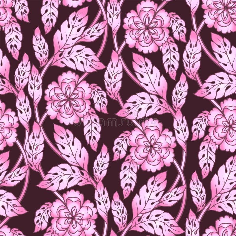 Abstrakcjonistyczny kwiecisty bezszwowy wzór Wektorowy kwiat 3d kwitnie, rozgałęzia się i opuszcza, Elementy dla projekta w różow ilustracja wektor